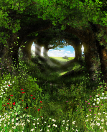 3D painting of a beautiful scenic view through an enchanted forest in summer. Stock Photo