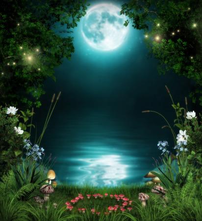 3D illustratie van een sprookjesbos door een betoverde vijver 's nachts in het maanlicht.