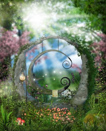 Rappresentazione 3d di un giardino di favola con un'oscillazione moonlike vicino ad una foresta.