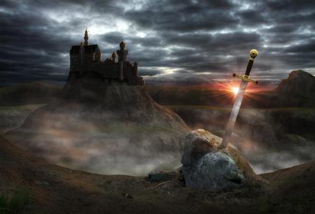 전설적인 캐슬 아서 왕 (King Arthur)과 칼 엑스 칼리버 (Excalibur)의 3D 회화. 스톡 콘텐츠