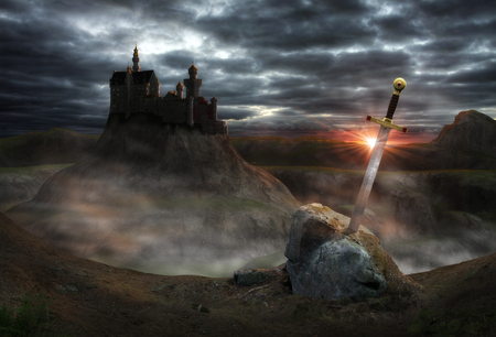 3D painting of the legendary castle Camelot of King Arthur and the sword Excalibur. Stock Photo
