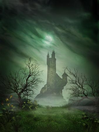 Representación 3D de un castillo embrujado fantasmal Foto de archivo