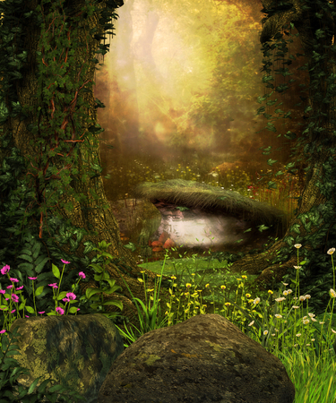 3D rendering of a view through an enchanted dark forest and a pond. Imagens