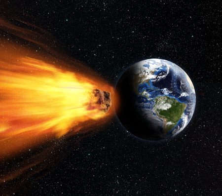 3D rendering of a blazing asteroid on collission course wth planet Earth. Imagens