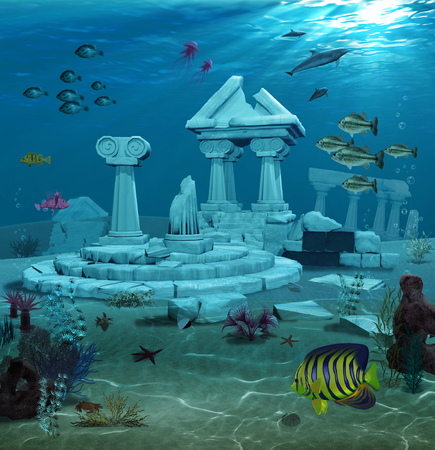 platon: 3d illustration of the sunken ruins of the ancient Atlantis civilization.