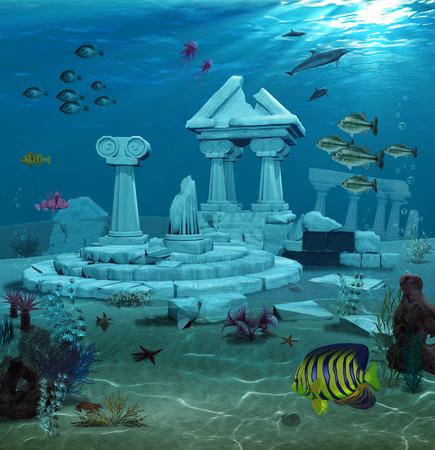 3d illustration of the sunken ruins of the ancient Atlantis civilization.