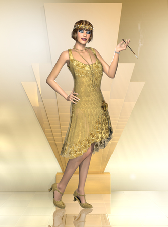 3D illustration of a seductive woman wearing a vintage 1920s flapper dancer dress with a cigarette holder. Stock Photo