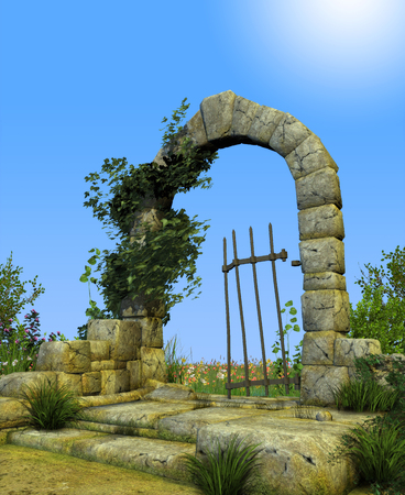 3D illustration of enchanted gate arch leading into a secret romantic garden.