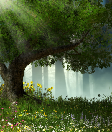 3D illustration of a large tree in an enchanted romantic forest. Stock Photo