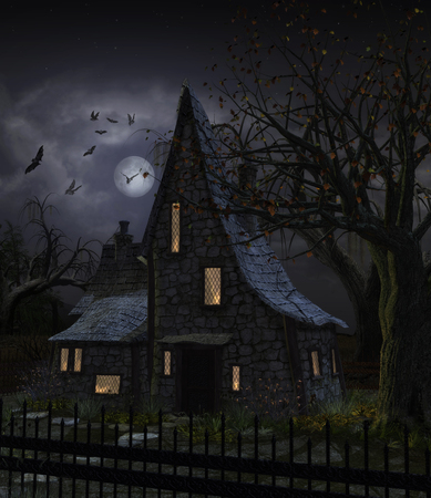3D illustration of a haunted house with dark horror atmosphere. Dark sky, full moon, trees silhouettes and bats.
