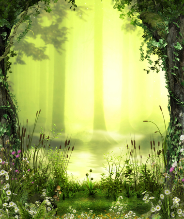 3D illustration of a beautiful view over a enchanting, romantic forest pond.