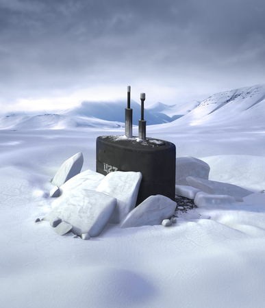 3D illustration of a submarine breaking through a thick ice cap in the North Pole region.