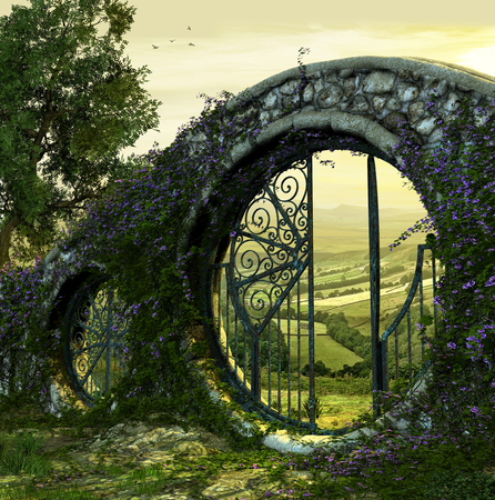3D render of a gate wall to a beautiful enchanted garden like landscape at dawn Stock fotó - 82744996