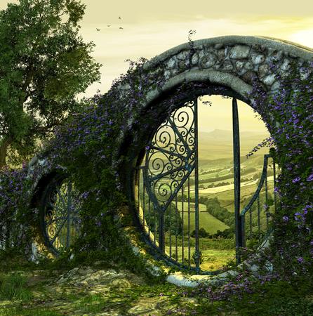 3D render van een poortwand naar een prachtige betoverde tuin zoals landschap bij dageraad Stockfoto