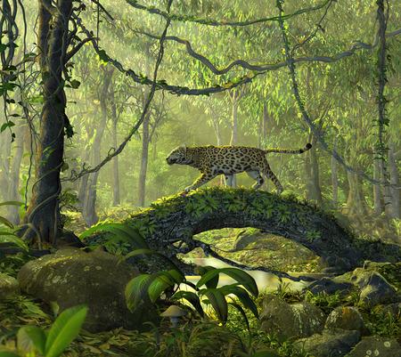 Render 3D de un hermoso bosque encantado de la selva con un gato de pantera alerta cruzando un estanque