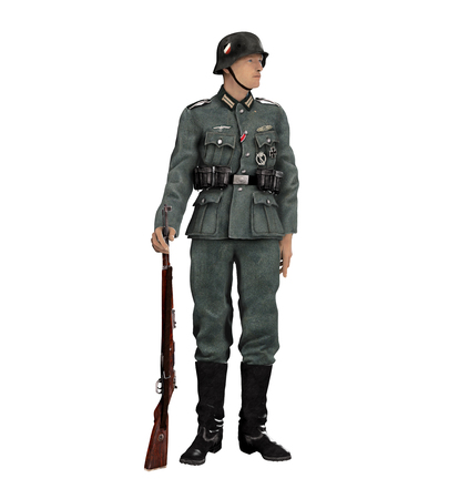 reich: 3D render of an enlisted German infantry soldier 1939 Wehrmacht uniform