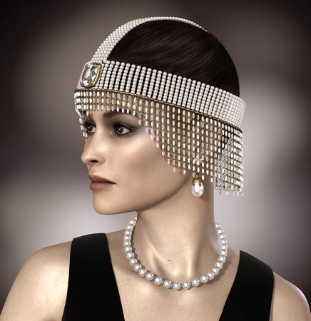 Amazing 3D render of a beautiful woman wearing  pearl and diamond Great Gatsby Daisy jewelry. Stock Photo