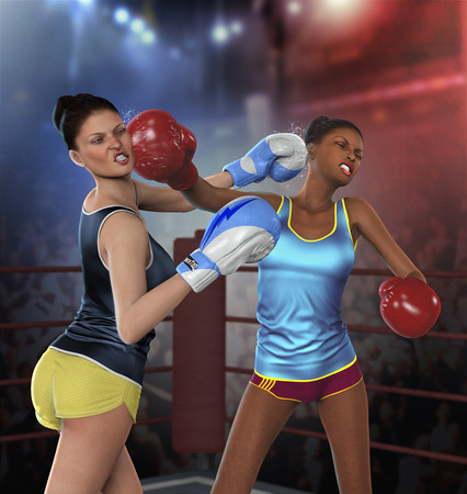 Realistic 3D rendering of two young beautiful amateur boxer girls punching in an intensive boxing fight. Stock Photo