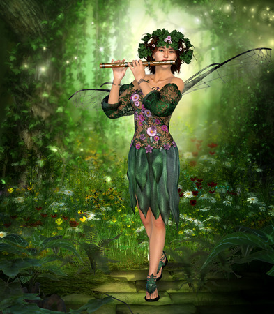 3D rendering of a charming fairy with wreath and wings playing the flute in an enchanting forest.