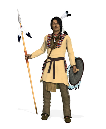 3D render of an Native American Indian, Cheyenne Warrior with spear and shield.