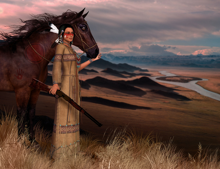 3D render of a beautiful native American Indian woman in traditional clothes, wearing war paint, carrying a rifle and her horse.