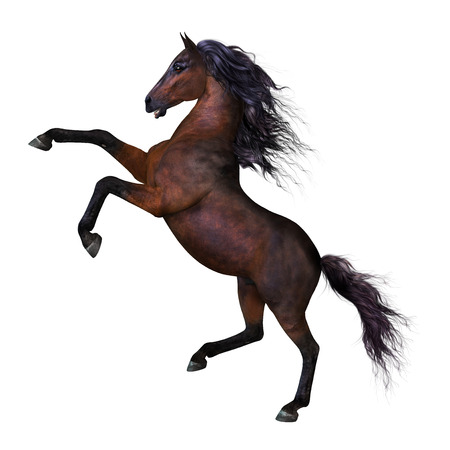 3 D は長いたてがみを持つ美しい飼育馬のレンダリングし、紋章のポーズの尾します。