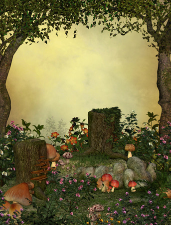 3D rendering of a enchanting fairy forest opening.