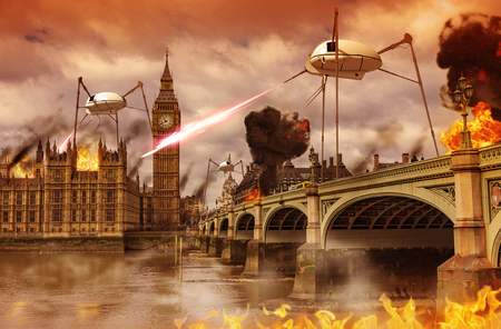 3D render of an alien invasion concept of London near the British Parliament over the river Thames. Alien fighting machines attack the city like in H.G. Wells novel, War of the Worlds. Imagens - 90353939
