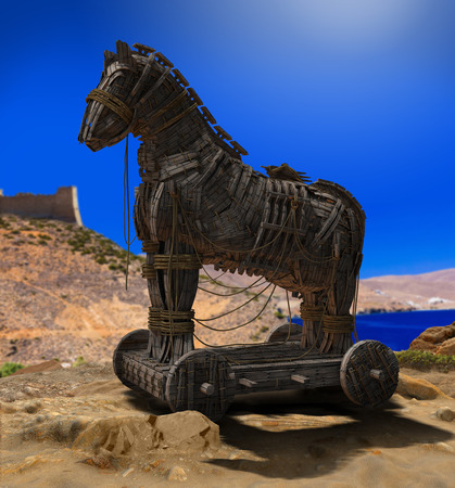 3D render of Homer's Trojan Horse in front of the Walls of Troy and the Aegean Sea. Banque d'images