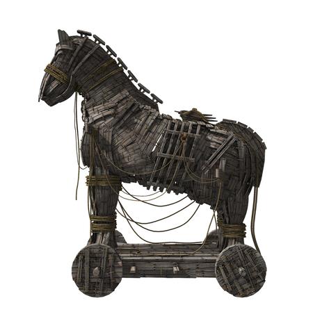 3D rinden del caballo de Troya de Homer aislado en el fondo blanco.