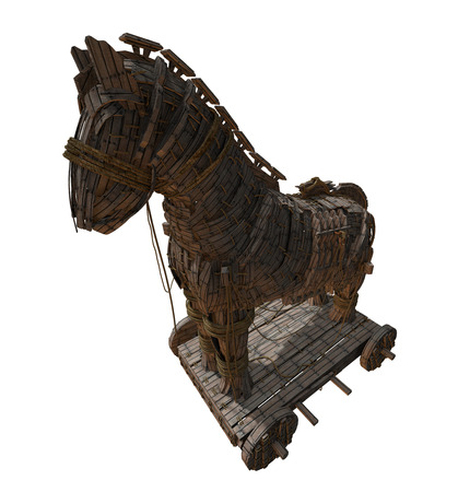 3D render of Homer's Trojan Horse in front of the Walls of Troy and the Aegean Sea. Stock Photo