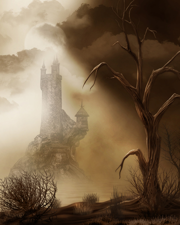 3D render of a remote magical fairy tale castle in a barren wasteland concept Stok Fotoğraf