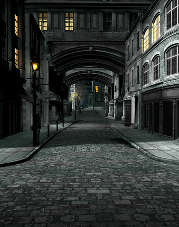 3D render of street scene at night with 19th century city buildings