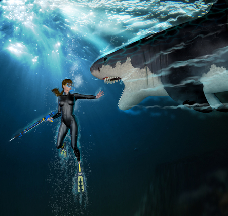 3D render of a great white shark attacking a female scuba diver underwater (with digital painting)