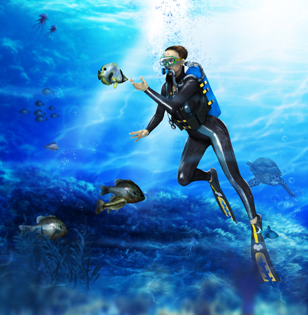 3D render of a female scuba diver (with digital painting) encounters friendly fish during her  ascend from her dive