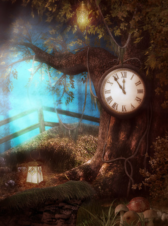 3D render illustration of an enchanting Clock Tree Time fantasy scenario in a forest
