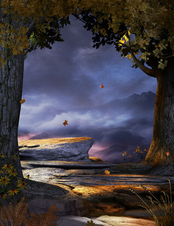 3D render illustration of a spooky misty halloween autumn wind forest clearing