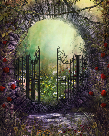 3D render illustration of an magical old gate with ivy and flowers leading to an enchanting garden