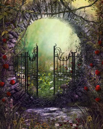3D geef illustratie van een magische oude poort met klimop en bloemen terug die tot een betoverende tuin leiden Stockfoto