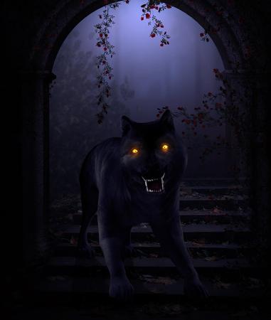 3D render of a horror wolf beast with burning demonic eyes in a dark fantasy scenario Standard-Bild
