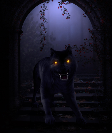 3D render of a horror wolf beast with burning demonic eyes in a dark fantasy scenario Фото со стока