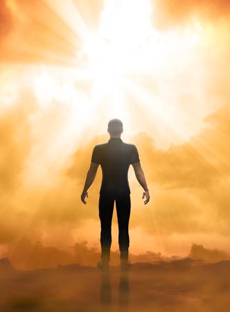3D render ilustracji przeżycia bliskiego śmierci, w obliczu życia pozagrobowego, bram nieba
