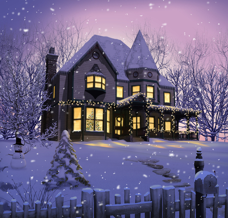 3D illustration of an enchanting victorian house with christmas lights on the porch