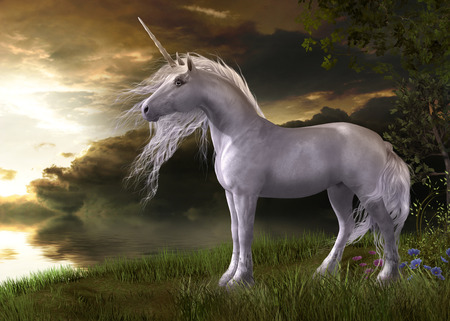 3D illustration of an enchanting white unicorn watching a sunset reflecting in water Standard-Bild