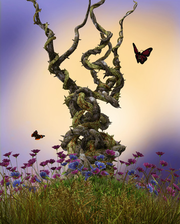 3D render illustration of enchanting fairy heavy twisted vines on top of a hill surrounded by flowers