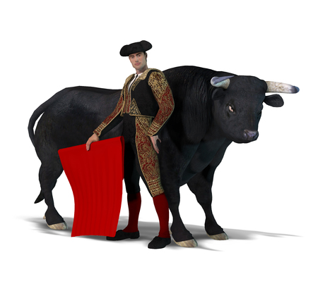 3D render of a proud male matador and a black bull isolated on a white background