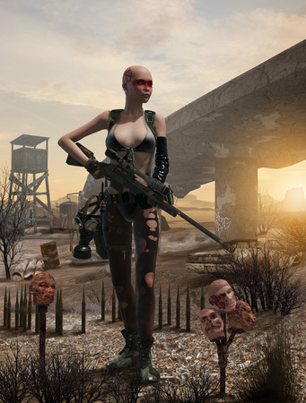 3D render of a post apocalyptic female survivor with a rifle in a difficult, polluted enviornment Stock Photo