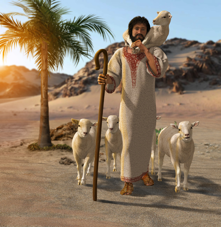 3D render of the good shepherd taking care of his sheep in a desert oasis