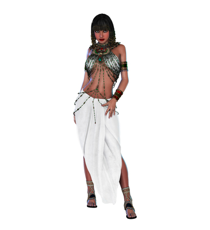 3d render of an Egyptian Princess, Queen, Pharao,  Cleopatra , isolated on white