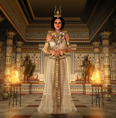 3d render of the beautiful last Egyptian Princess, Queen, Pharaoh, Cleopatra, in a richly decorated temple, holding her signs of power